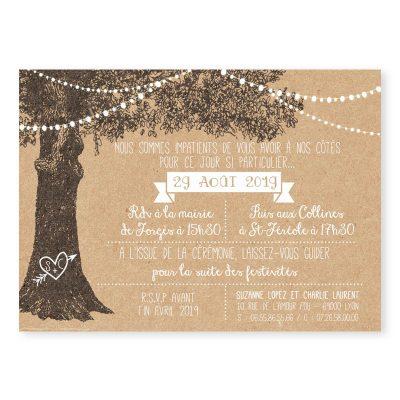 faire-part mariage arbre rustique kraft guirlandes guinguette 2