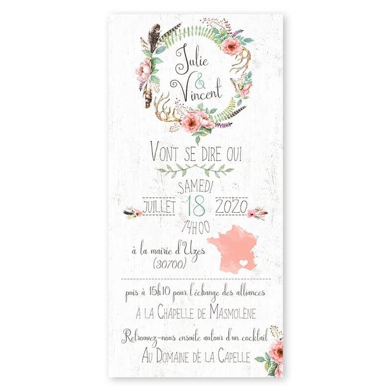 faire-part mariage boheme couronne fleurs plumes gipsy folk