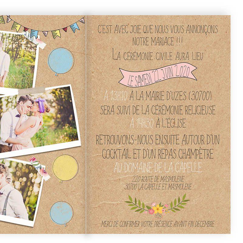 faire-part mariage creatif kraft vintage portrait combi guirlandes guinguette 2