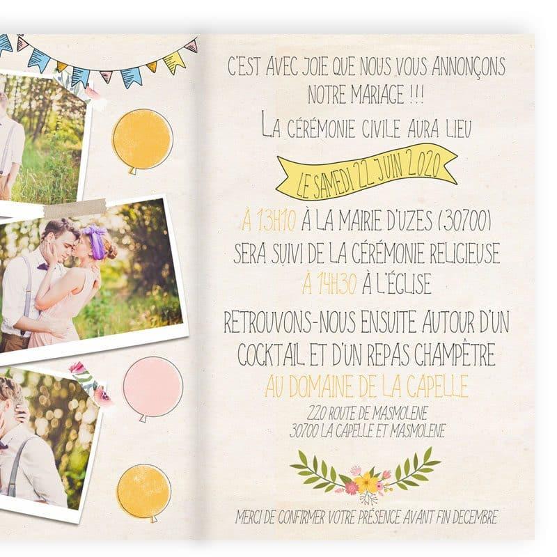 faire-part mariage creatif vintage portrait combi guirlandes guinguette 2