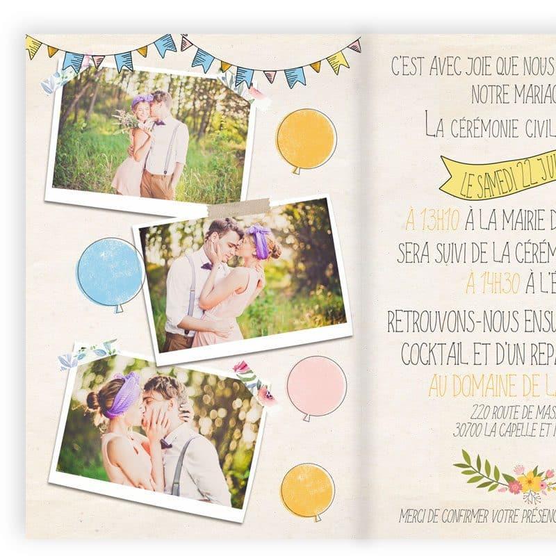 faire-part mariage creatif vintage portrait combi guirlandes guinguette