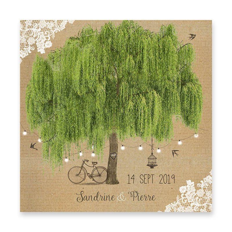 faire-part mariage saule pleureur arbre kraft romantique dentelle