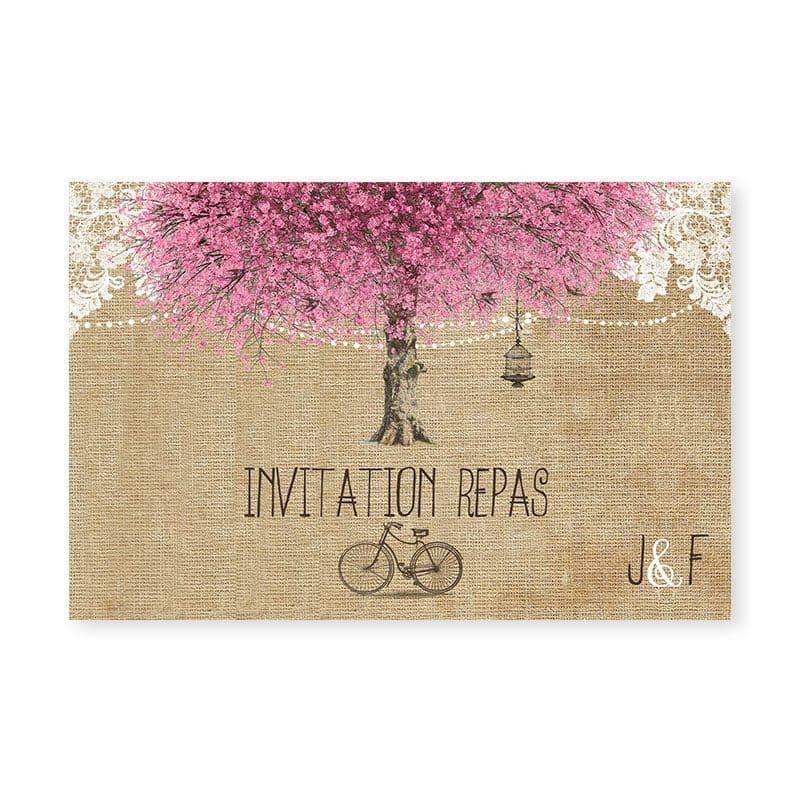 invitation repas mariage arbre cerisier fleurs romantique v