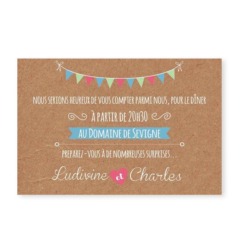 invitation repas mariage guinguette chic kraft et fanions festif v