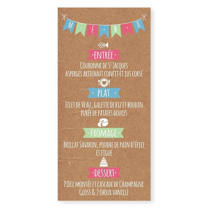 menu mariage guinguette chic kraft et fanions festif pastel v