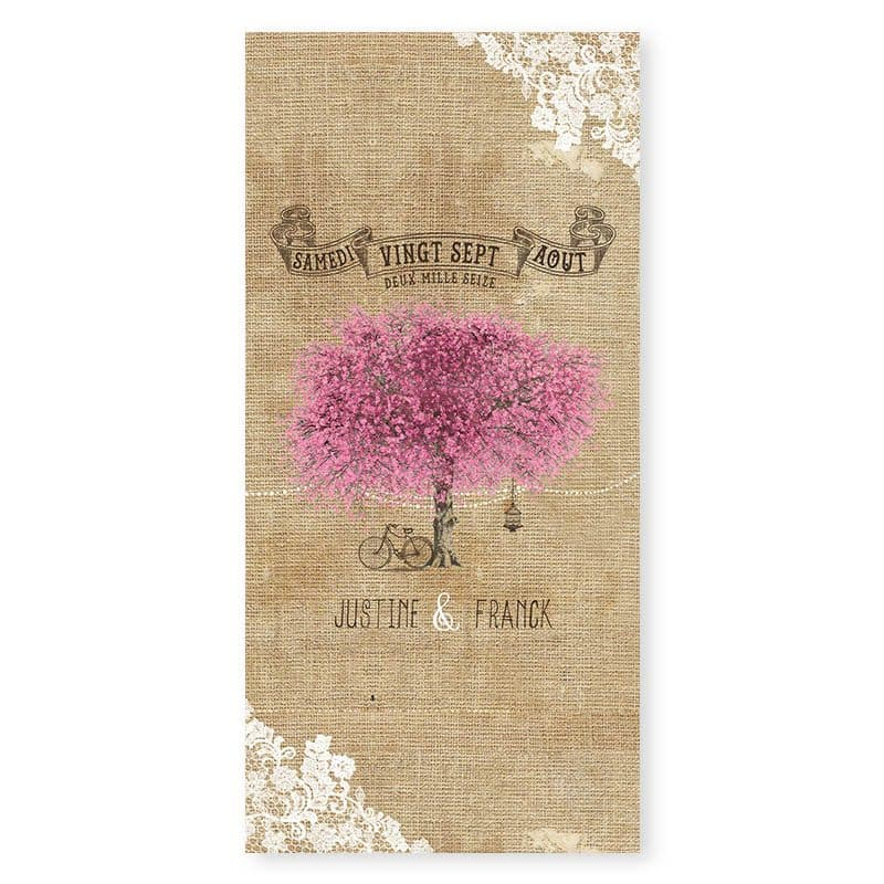 menu personnalise mariage arbre nature champetre chic v