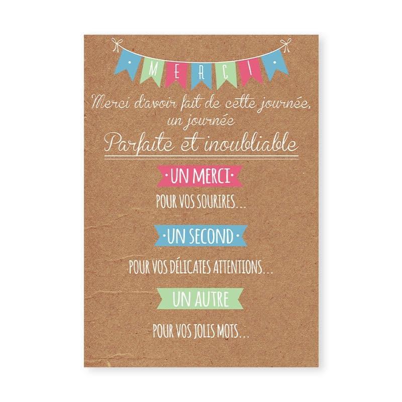 remerciements mariage guinguette chic kraft et fanions festif pastel