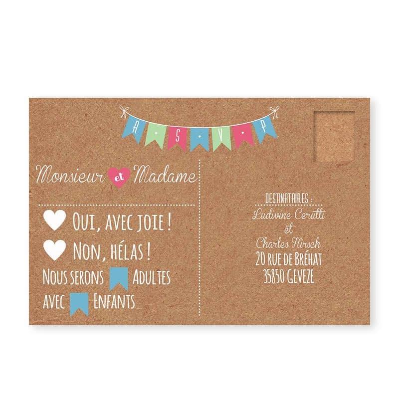 rsvp mariage guinguette chic kraft et fanions festif pastel