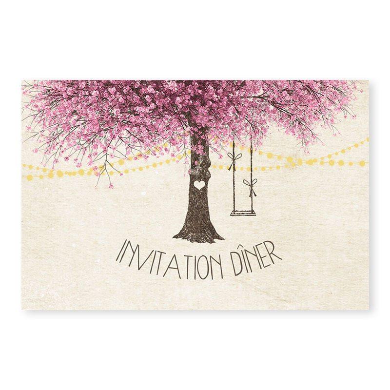 Invitation dîner nature chic arbre en fleurs romantique au printemps v