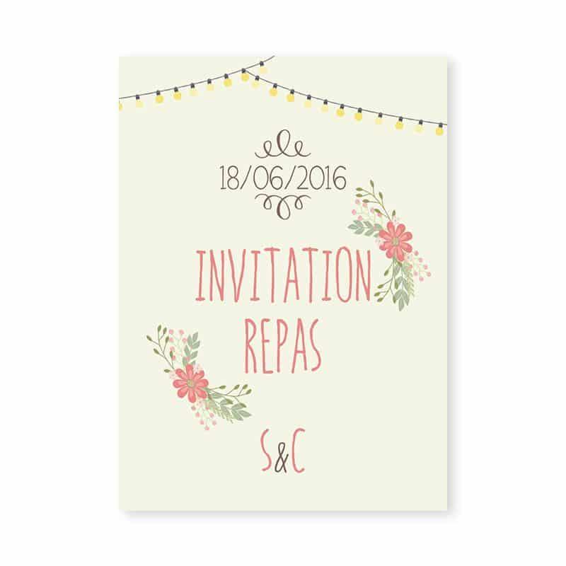 Invitation mariage Guinguette vintage guirlandes fleurs