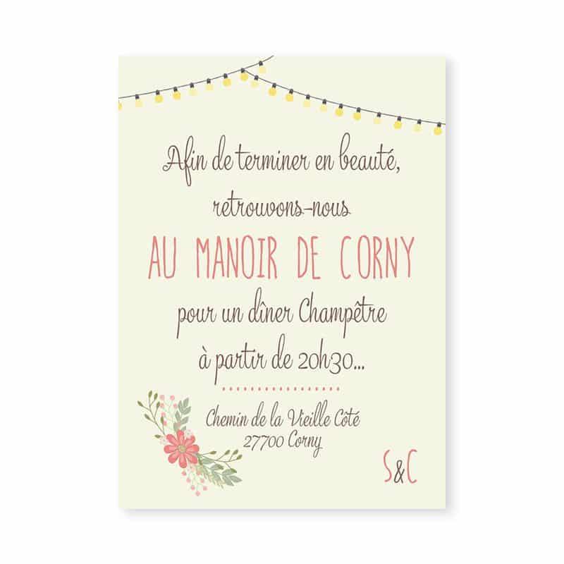 Invitation mariage Guinguette vintage guirlandes fleurs v