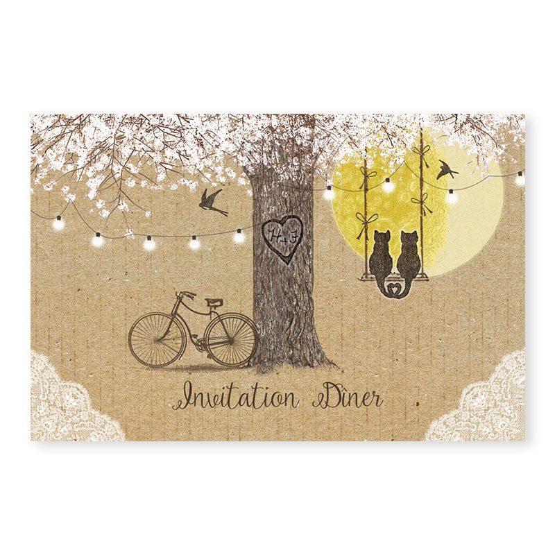 Invitation mariage arbre romantique sur kraft avec dentelle guirlandes et balancoire champetre chic