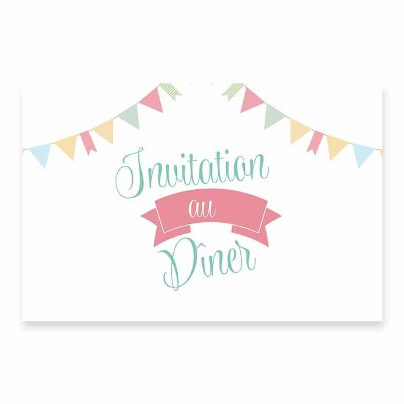 Invitation repas guinguette pastel fanion guirlandes