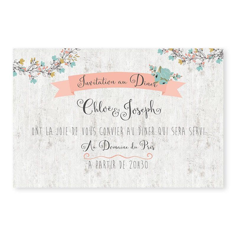 Invitation repas mariage Couronne de fleurs Champêtre chic v