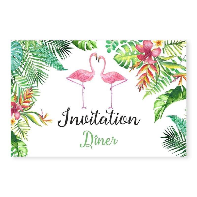 Invitation repas mariage Exotique fleurs oiseaux du paradis moderne v