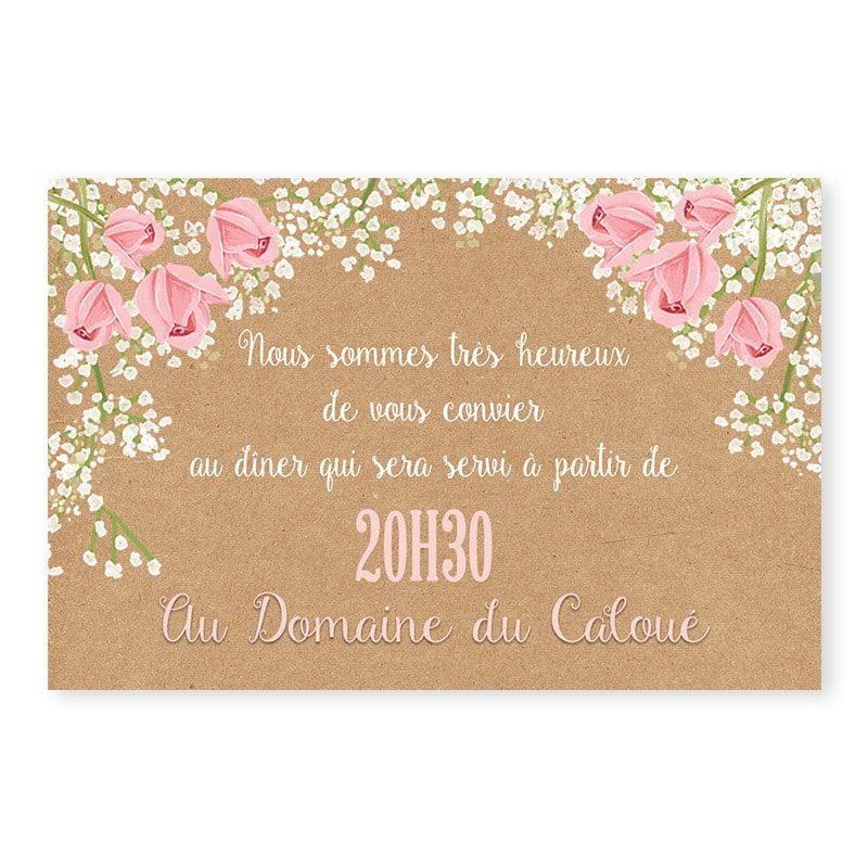 Invitation repas mariage Gypsophile Romantique sur kraft fleurs chic v