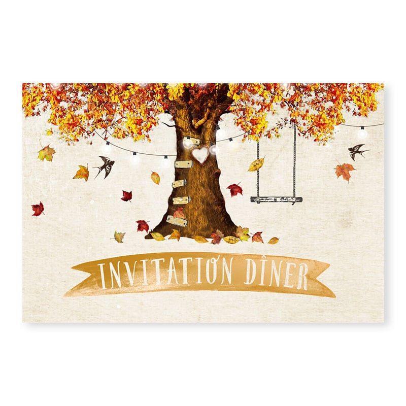 Invitation repas mariage automne personnalisable créatif chic