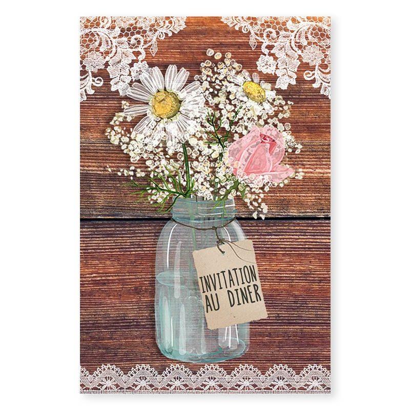 Invitation repas mariage bois rustique fleurs champêtre original créatif