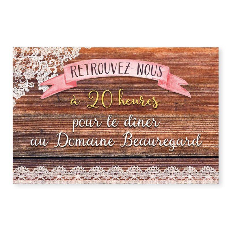 Invitation repas mariage bois rustique fleurs champêtre original créatif v