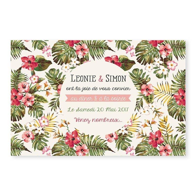 Invitation repas mariage tropical hibiscus