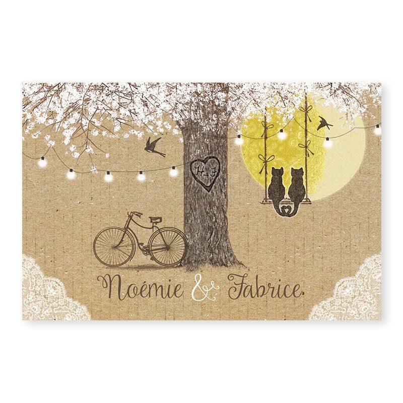 Marque-place arbre romantique sur kraft avec dentelle guirlandes et balancoire champetre chic