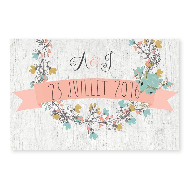 Marque-place mariage Couronne de fleurs Champêtre chic v