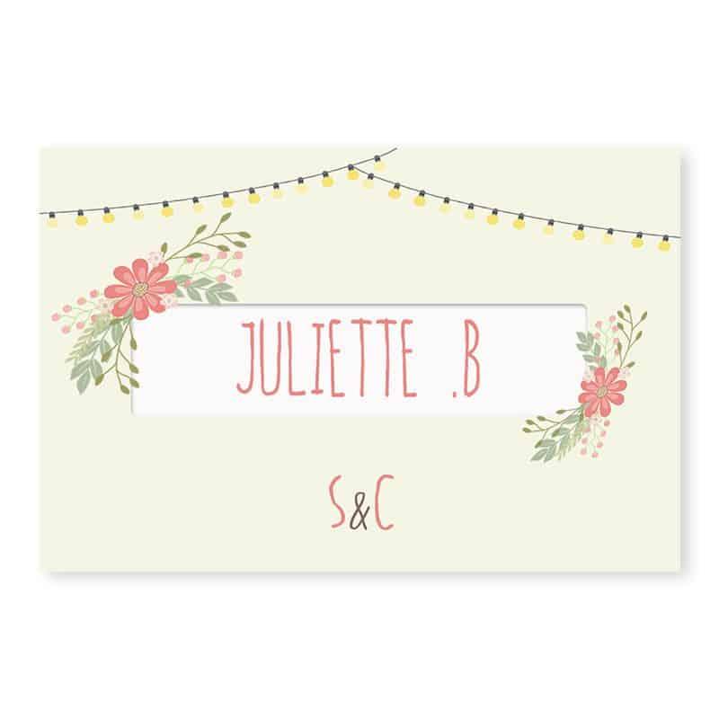 Marque-place mariage Guinguette vintage guirlandes fleurs