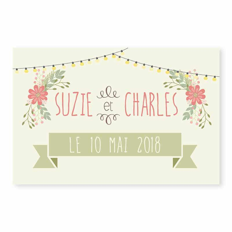 Marque-place mariage Guinguette vintage guirlandes fleurs v