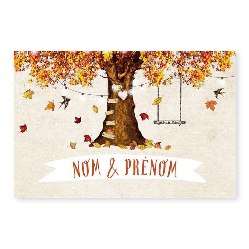 Marque-place mariage automne romantique chic arbre v