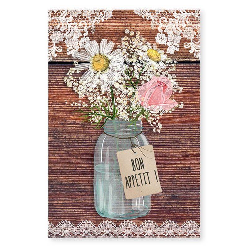 Marque-place mariage bois rustique fleurs champêtre original créatif