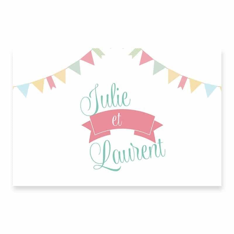 Marque-place mariage guinguette pastel fanion guirlandes v