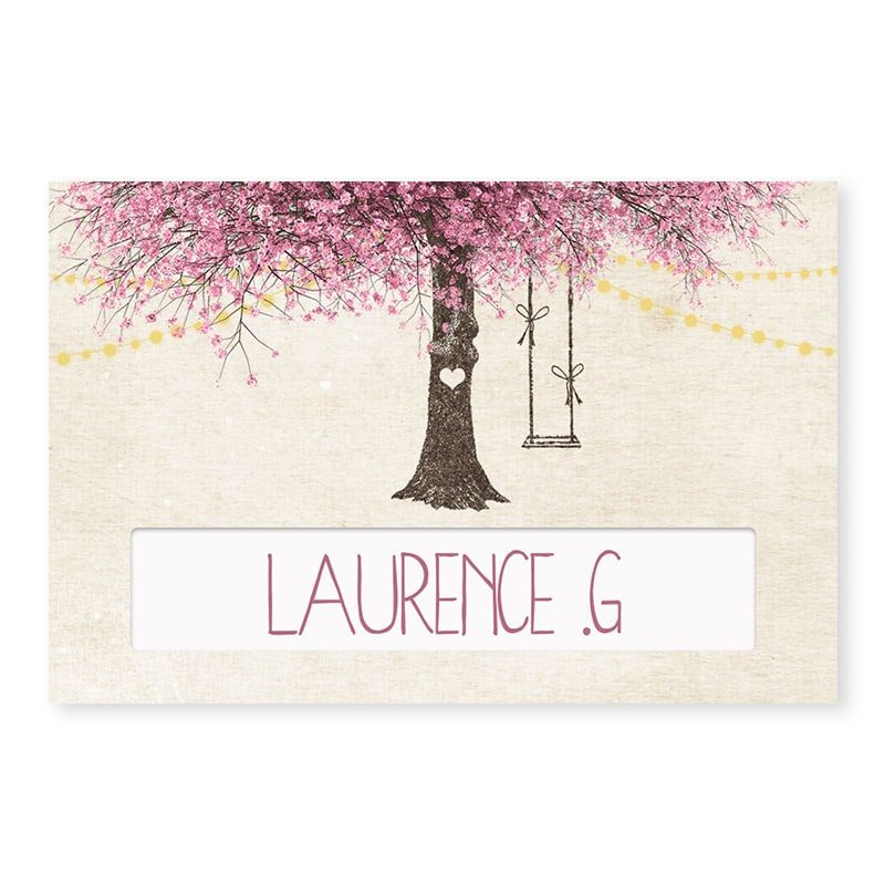 Marque-place mariage nature chic avec arbre en fleurs romantique v