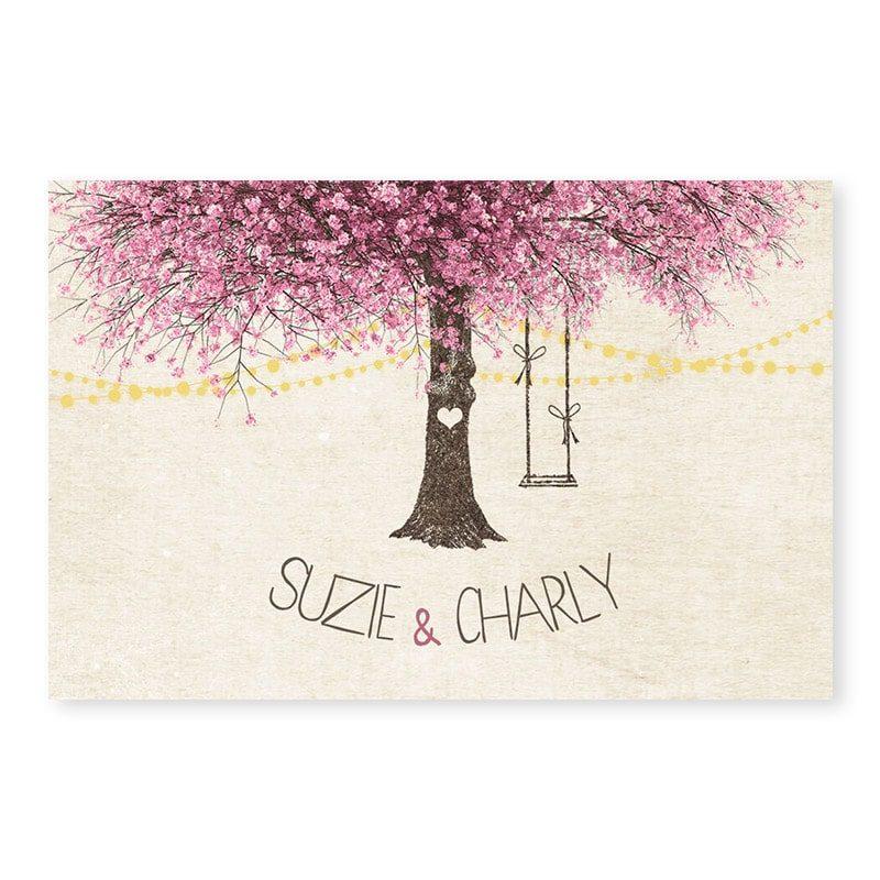 Marque-place mariage nature chic avec arbre en fleurs romantique
