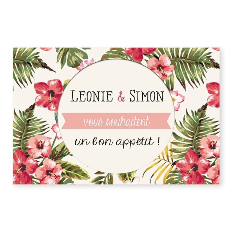 Marque-place tropical hibiscus mariage moderne v