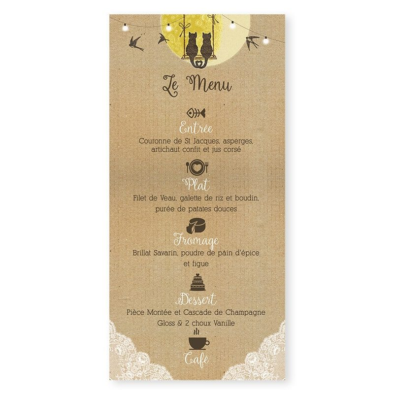 Menu mariage arbre romantique sur kraft avec dentelle guirlandes et balancoire champetre chic