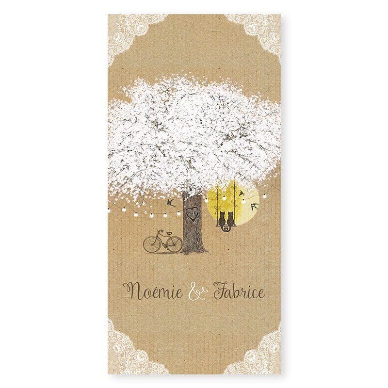 Menu mariage arbre romantique sur kraft avec dentelle guirlandes et balancoire champetre chic v