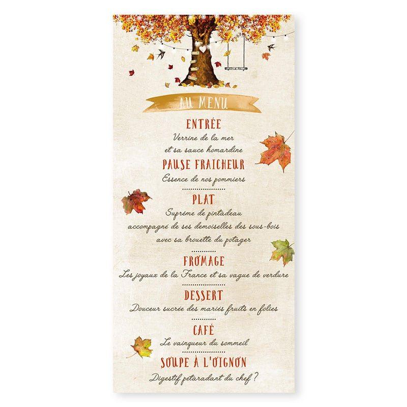 Menu mariage automne personnalisable créatif chic