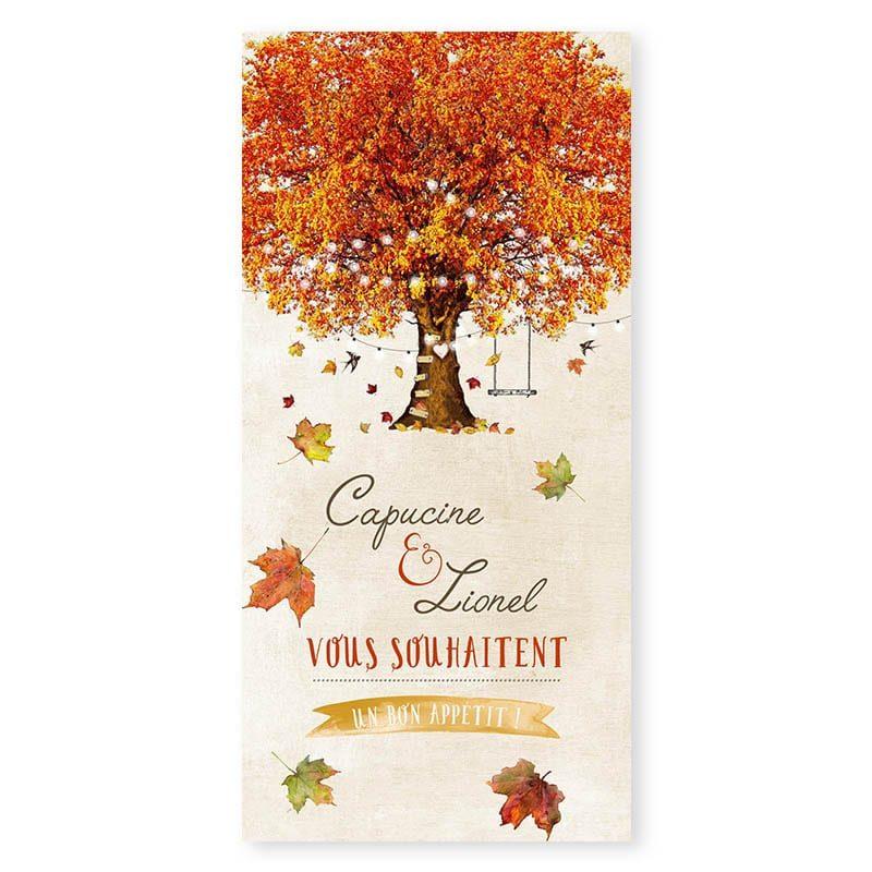 Menu mariage automne personnalisable créatif chic v