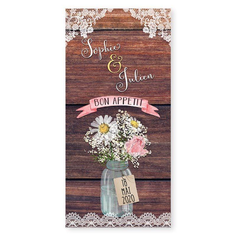 Menu mariage bois rustique fleurs champêtre original créatif v
