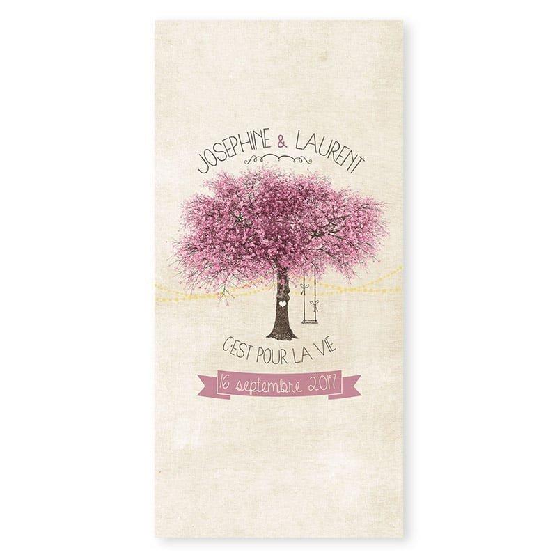 Menu mariage nature chic arbre en fleurs romantique au printemps v