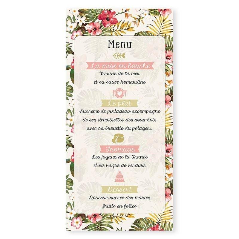 Menu mariage tropical hibiscus