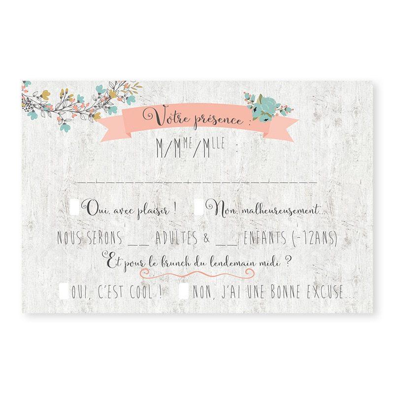 RSVP mariage Couronne de fleurs Champêtre chic