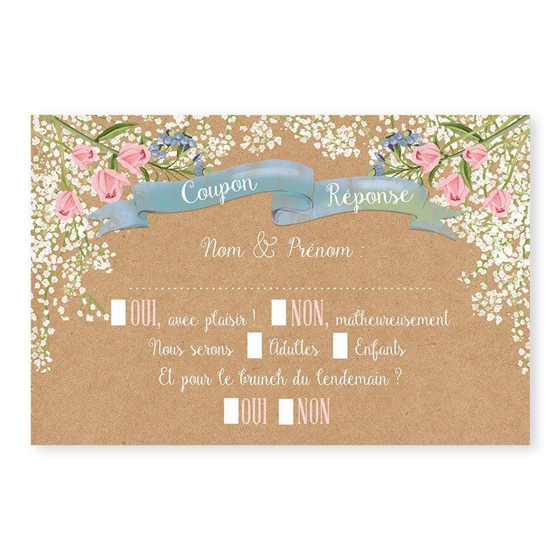 RSVP mariage Gypsophile Romantique sur kraft fleurs chic copie