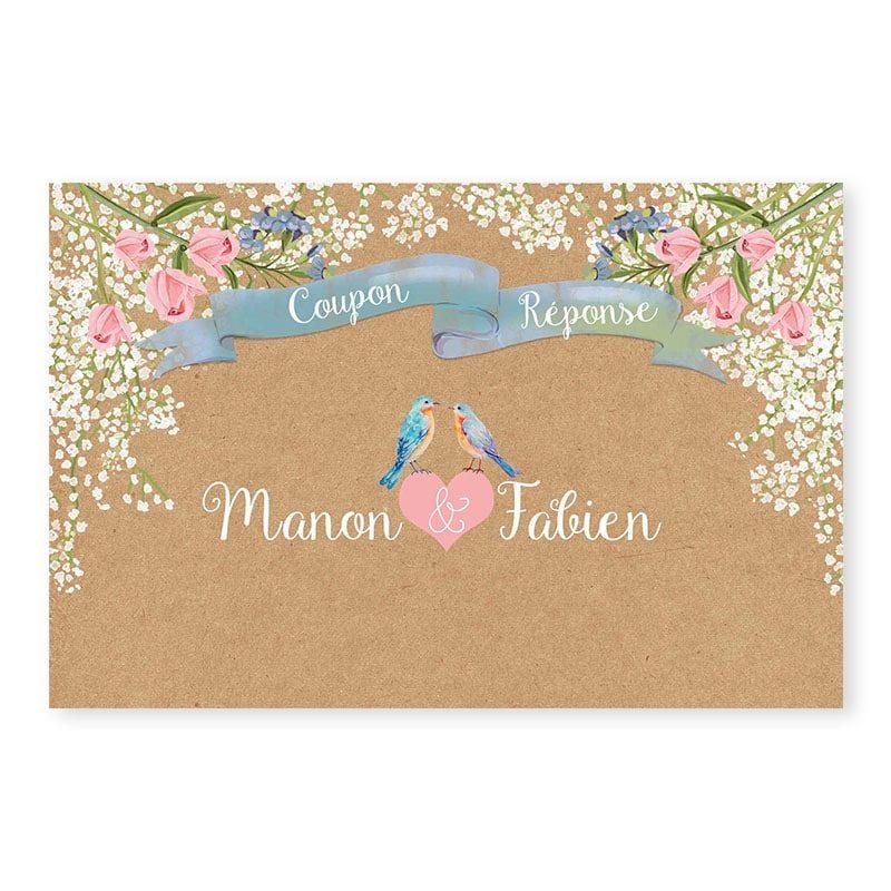 RSVP mariage Gypsophile Romantique sur kraft fleurs chic v