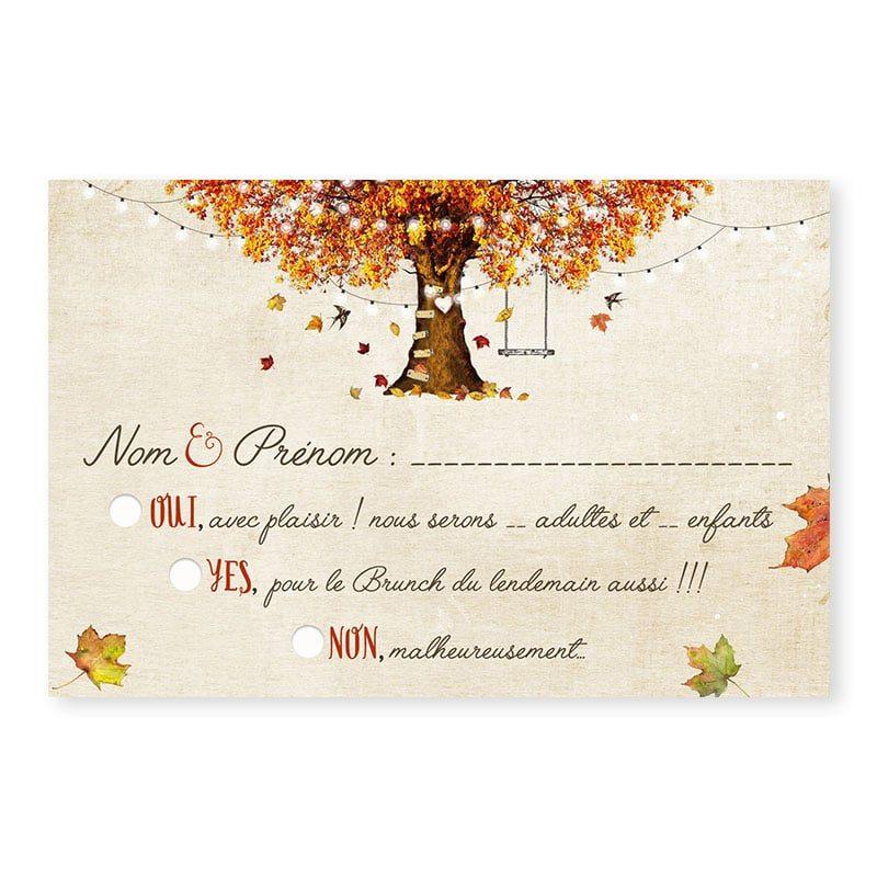 RSVP mariage automne romantique chic arbre