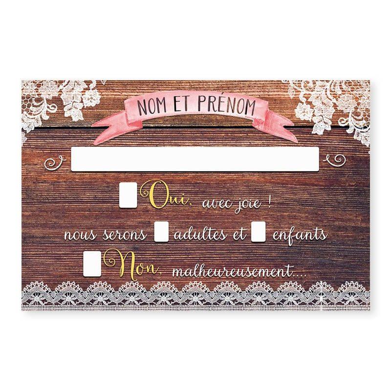 RSVP mariage bois rustique fleurs champêtre original créatif