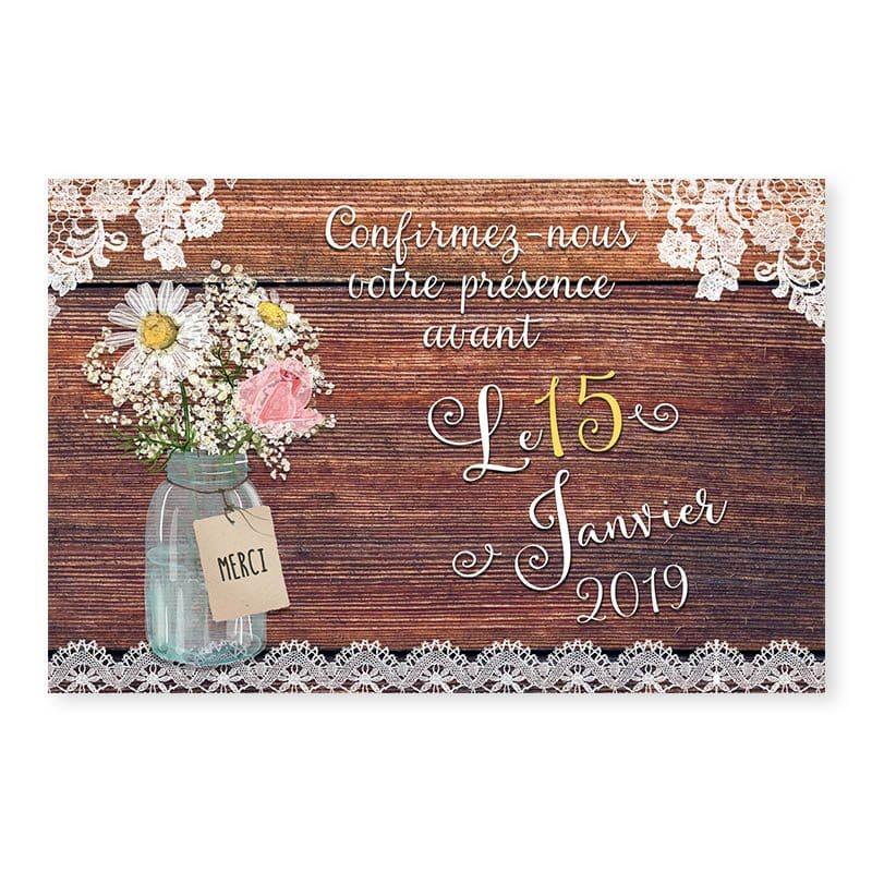RSVP mariage bois rustique fleurs champêtre original créatif v