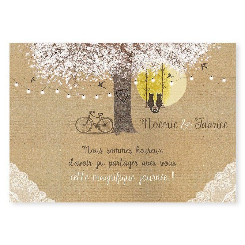 Remerciements arbre romantique sur kraft avec dentelle guirlandes et balancoire champetre chic v