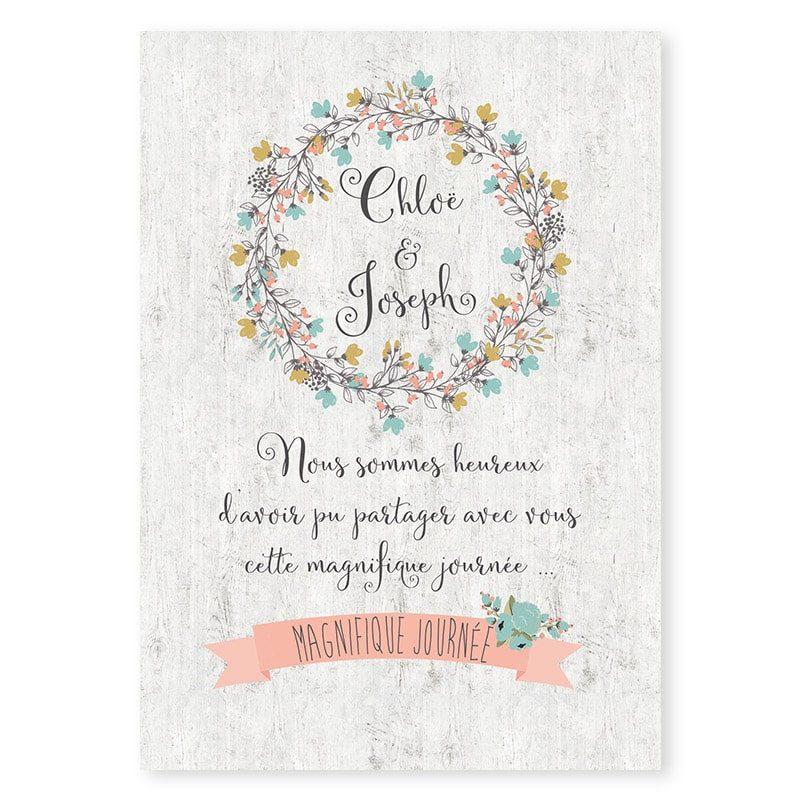 Remerciements mariage Couronne de fleurs Champêtre chic