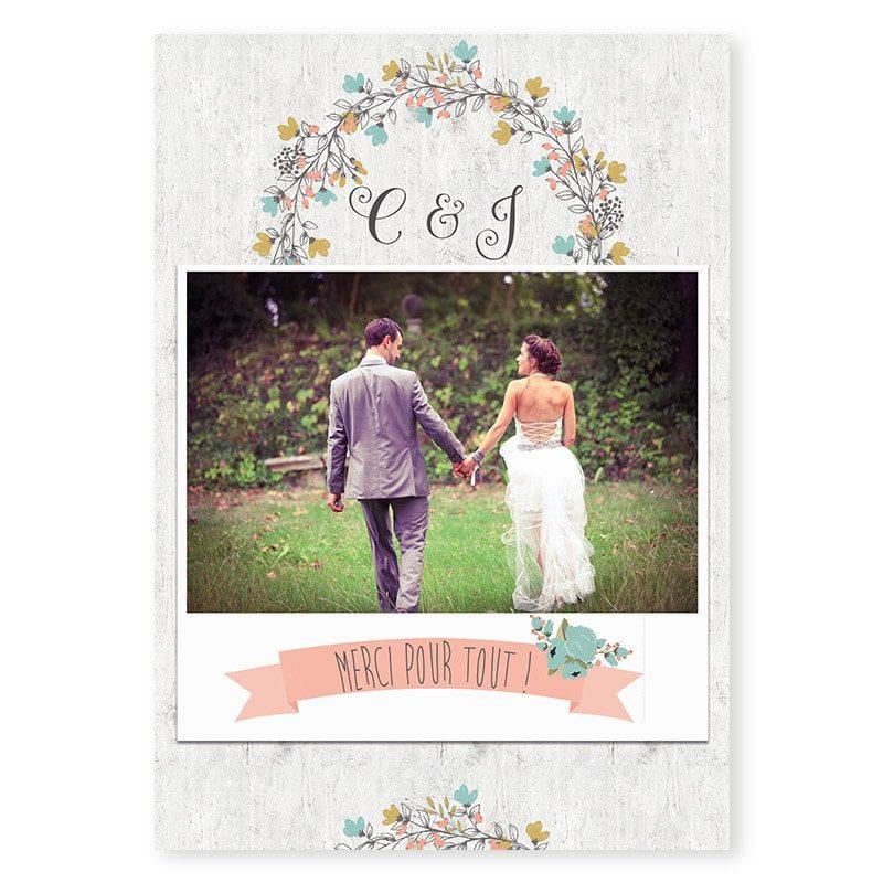 Remerciements mariage Couronne de fleurs Champêtre chic v
